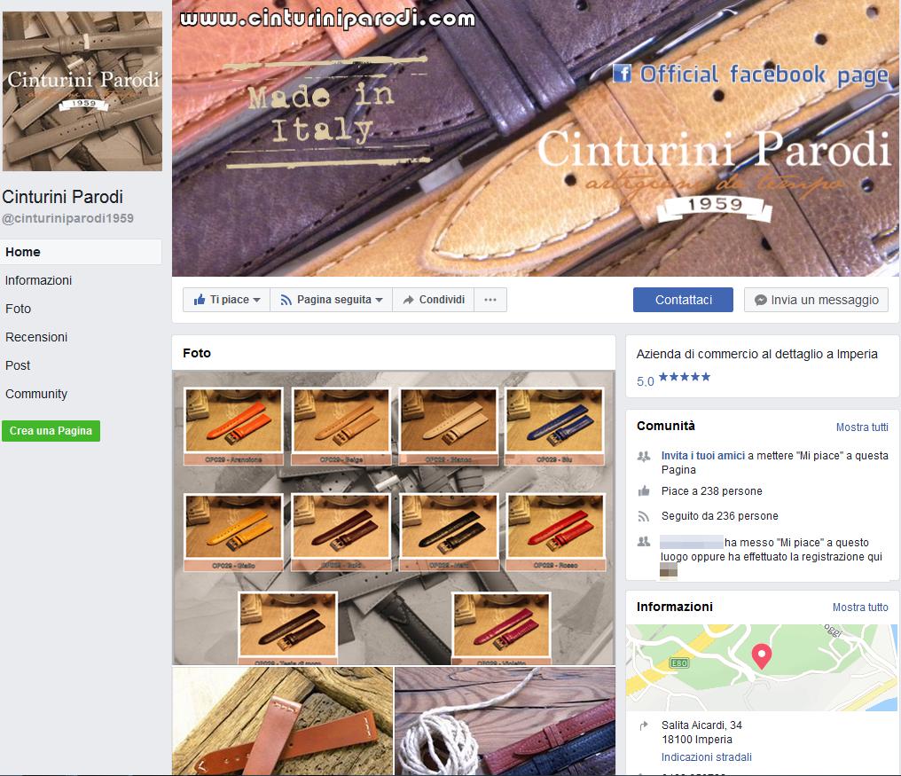 Cinturini Parodi - Pagina Facebook